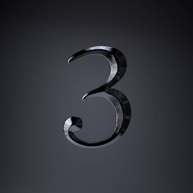 Chiseled iron number 3. 3d render game or movie title font isolated on black background.