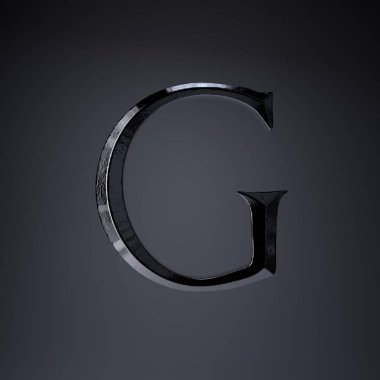 Chiseled iron letter G uppercase. 3d render game or movie title font isolated on black background.