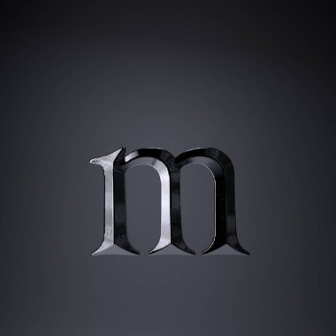 Chiseled iron letter M lowercase. 3d render game or movie title font isolated on black background.