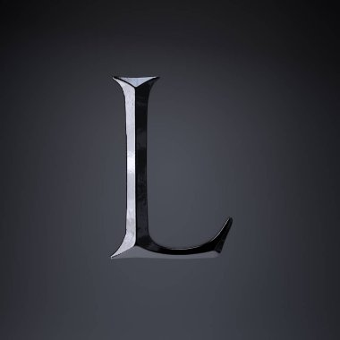 Chiseled iron letter L uppercase. 3d render game or movie title font isolated on black background.