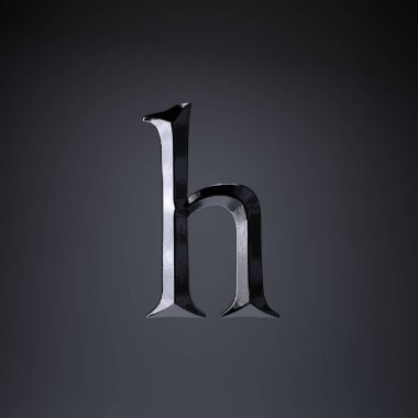 Chiseled iron letter H lowercase. 3d render game or movie title font isolated on black background.