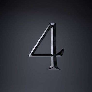 Chiseled iron number 4. 3d render game or movie title font isolated on black background.