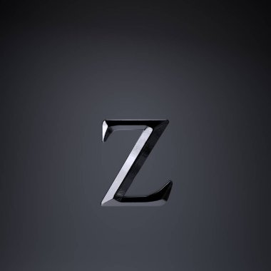 Chiseled iron letter Z lowercase. 3d render game or movie title font isolated on black background.