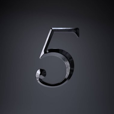Chiseled iron number 5. 3d render game or movie title font isolated on black background.