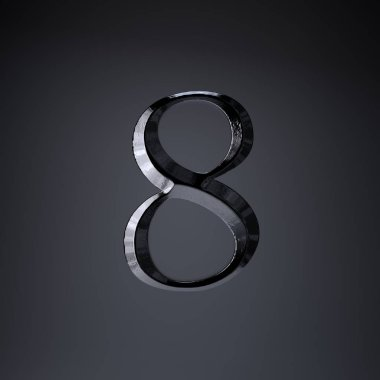 Chiseled iron number 8. 3d render game or movie title font isolated on black background.