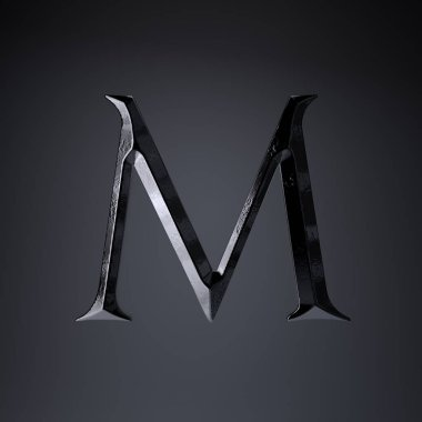 Chiseled iron letter M uppercase. 3d render game or movie title font isolated on black background.