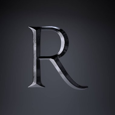 Chiseled iron letter R uppercase. 3d render game or movie title font isolated on black background.