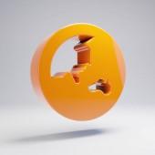 Volumetric glossy hot orange Globe Asia icon isolated on white background.