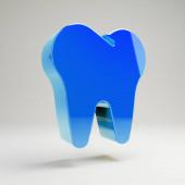 volumetrisches hochglanzblaues Zahnsymbol isoliert auf weißem Hintergrund.