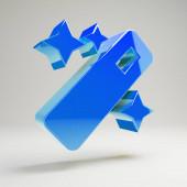 Objemný lesklý modrý ikona kouzelná hůlka, samostatná na bílém pozadí.