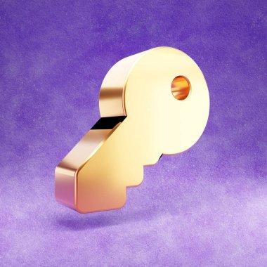Key icon. Gold glossy Key symbol isolated on violet velvet background. Modern icon for website, social media, presentation, design template element. 3D render. stock vector