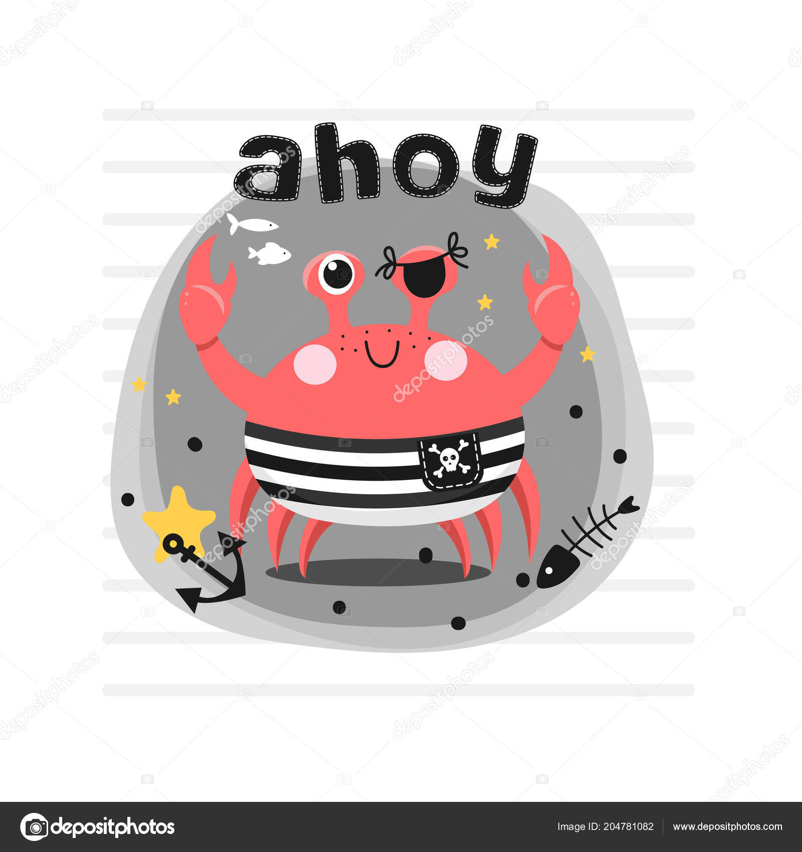 vector background pirate crab gray background inscription ahoy