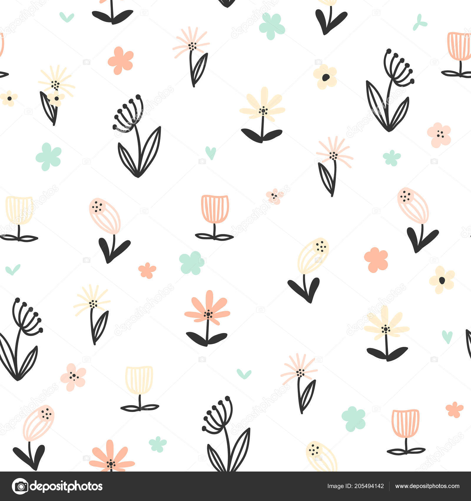 Seamless Floral Pattern Small Abstract Flowers White Background