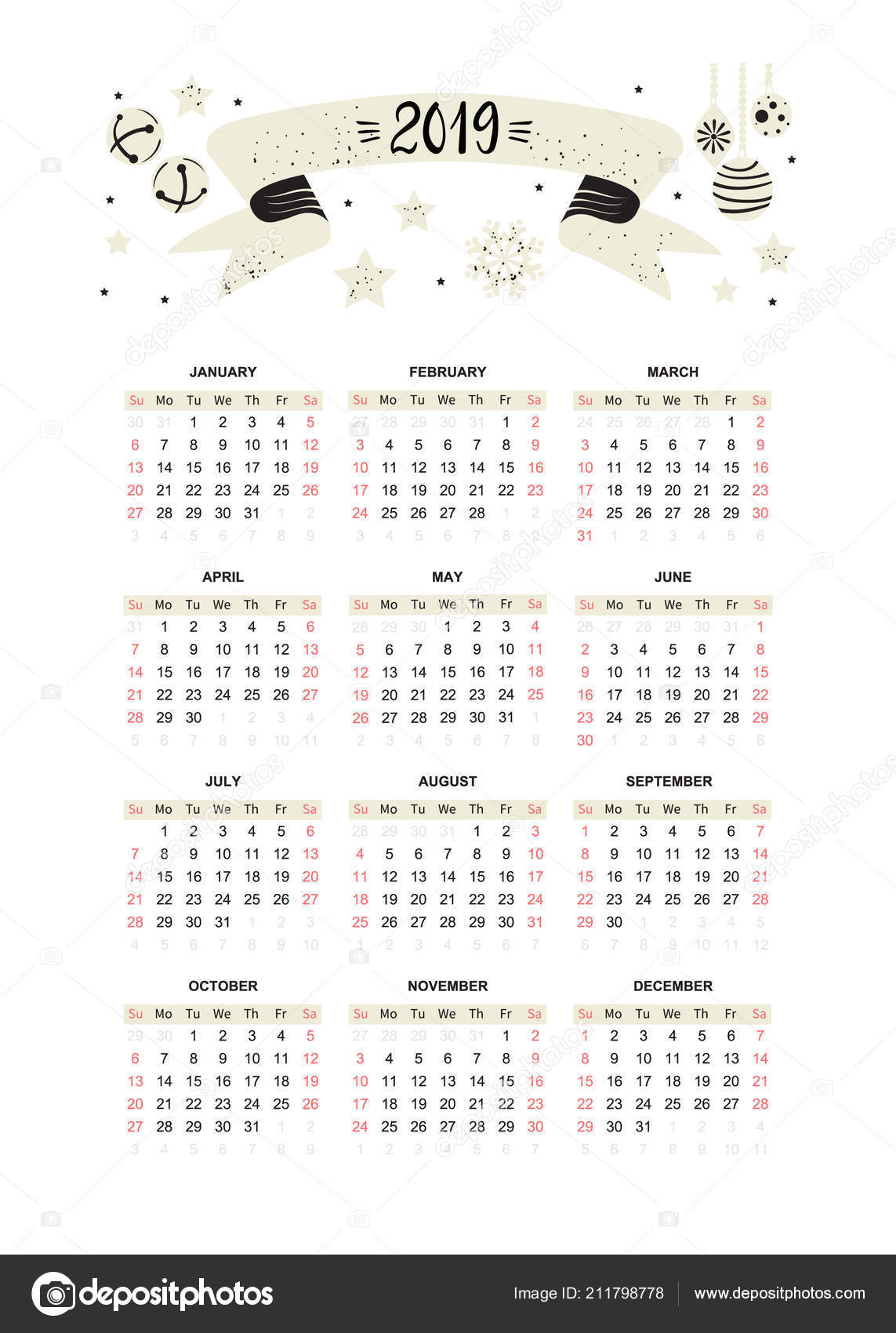 plantilla calendario 2019 decorado con mano escrita