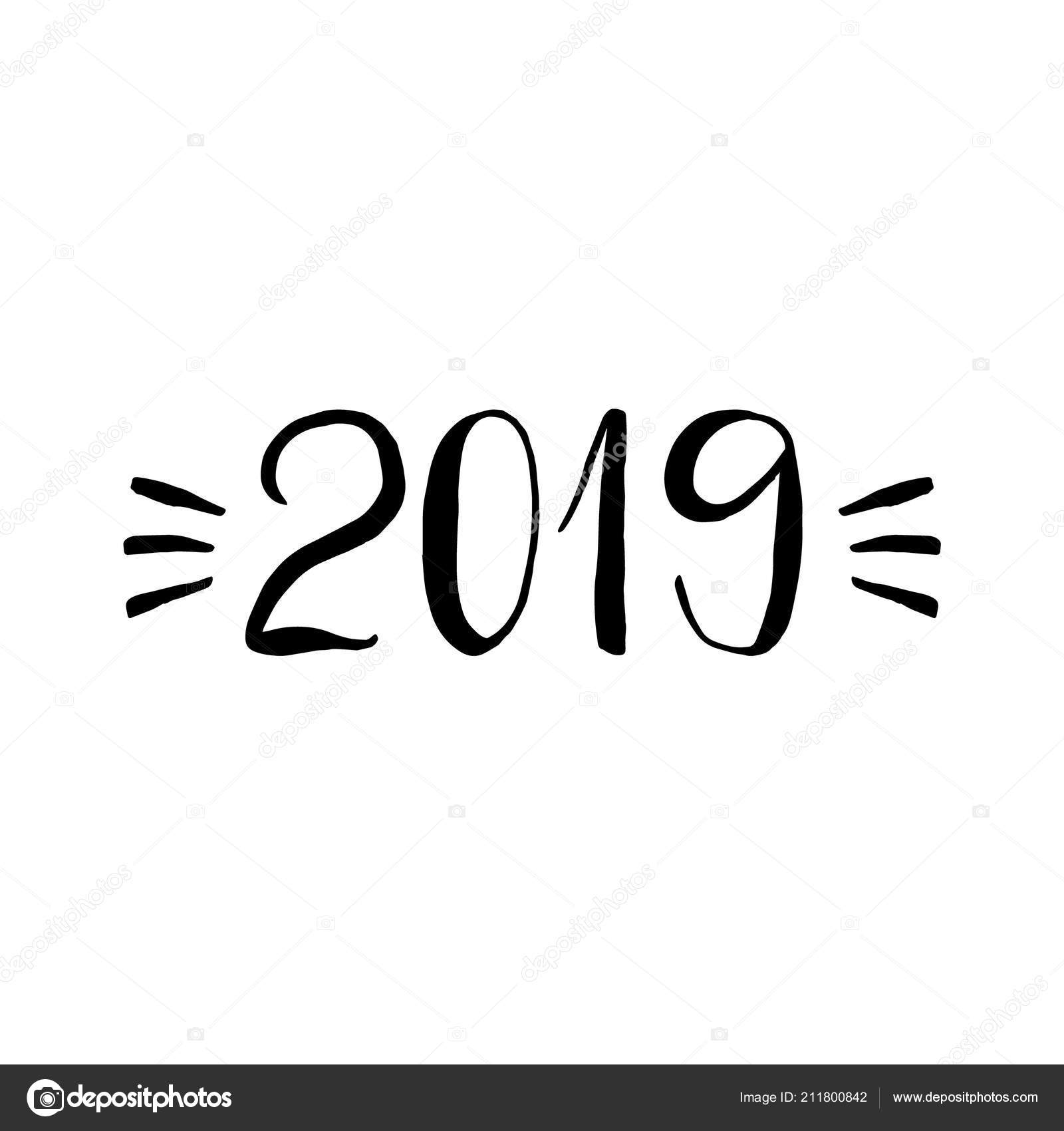 2019 Font: New Year 2019 Lettering Hand Drawn Design Elements