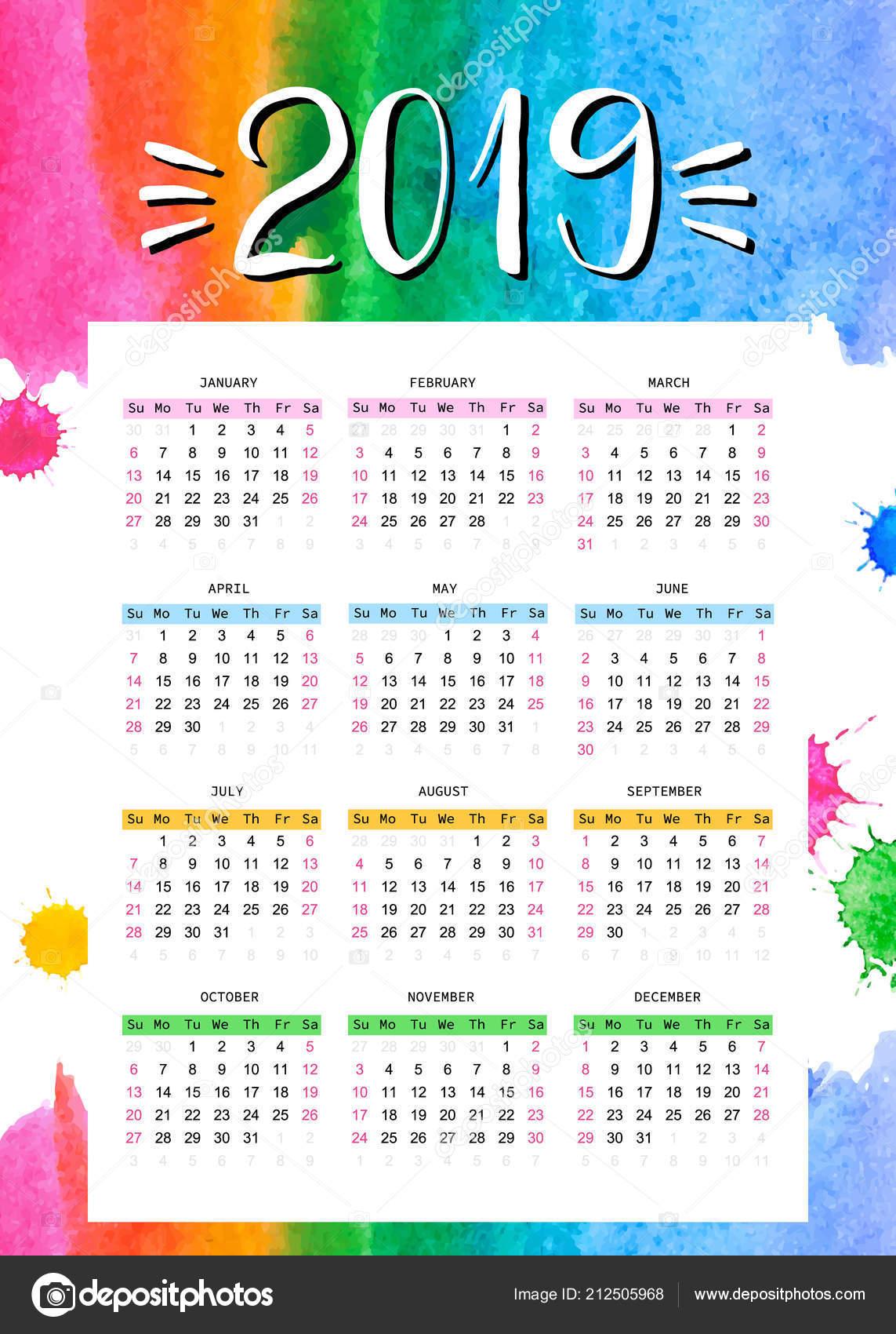 Calendario Rainbow.2019 Calendar Template Decorated Watercolor Rainbow