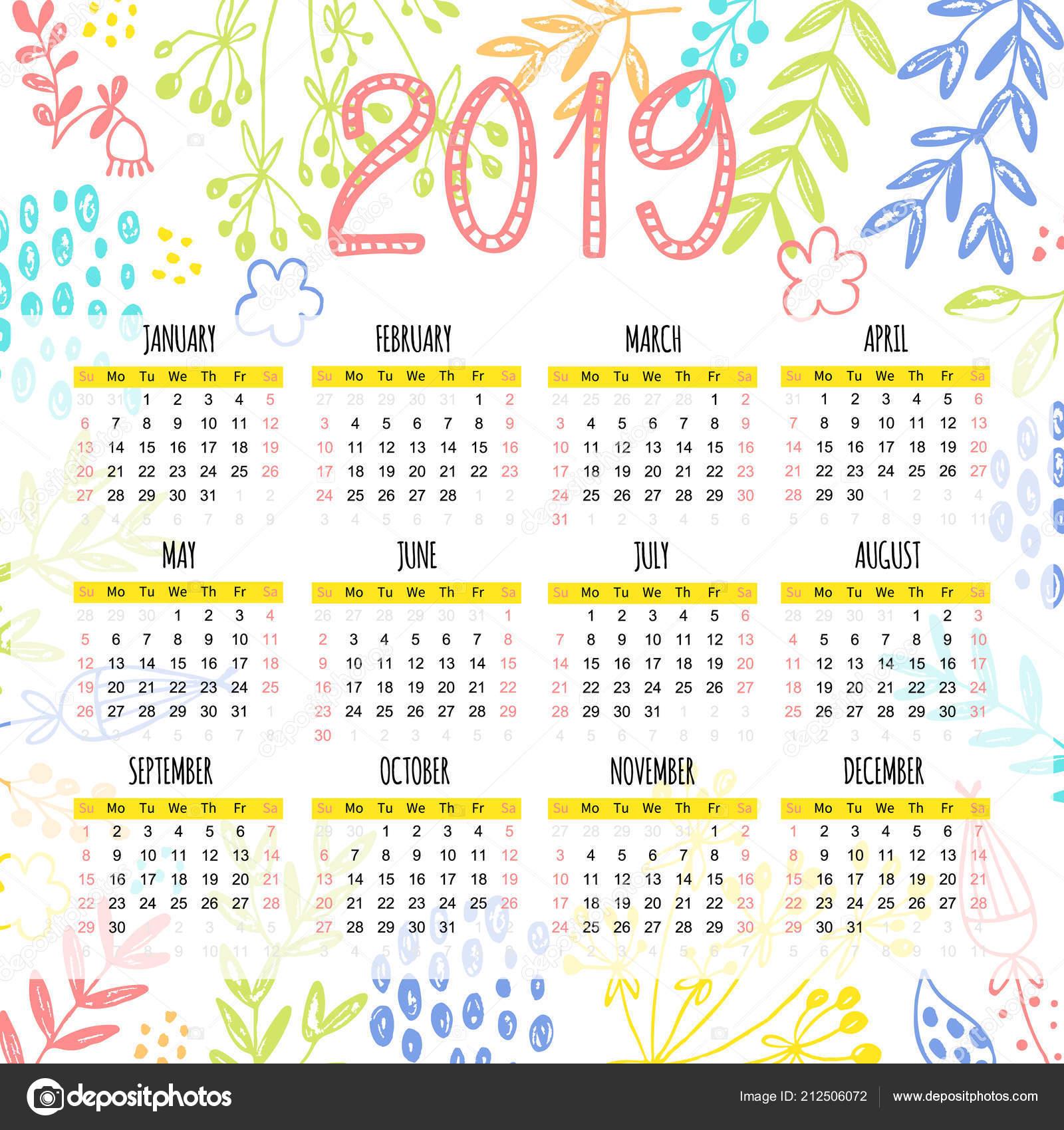 Calendario De Agosto 2019 Decorado.Plantilla Calendario 2019 Decorado Con Brillantes Pintadas
