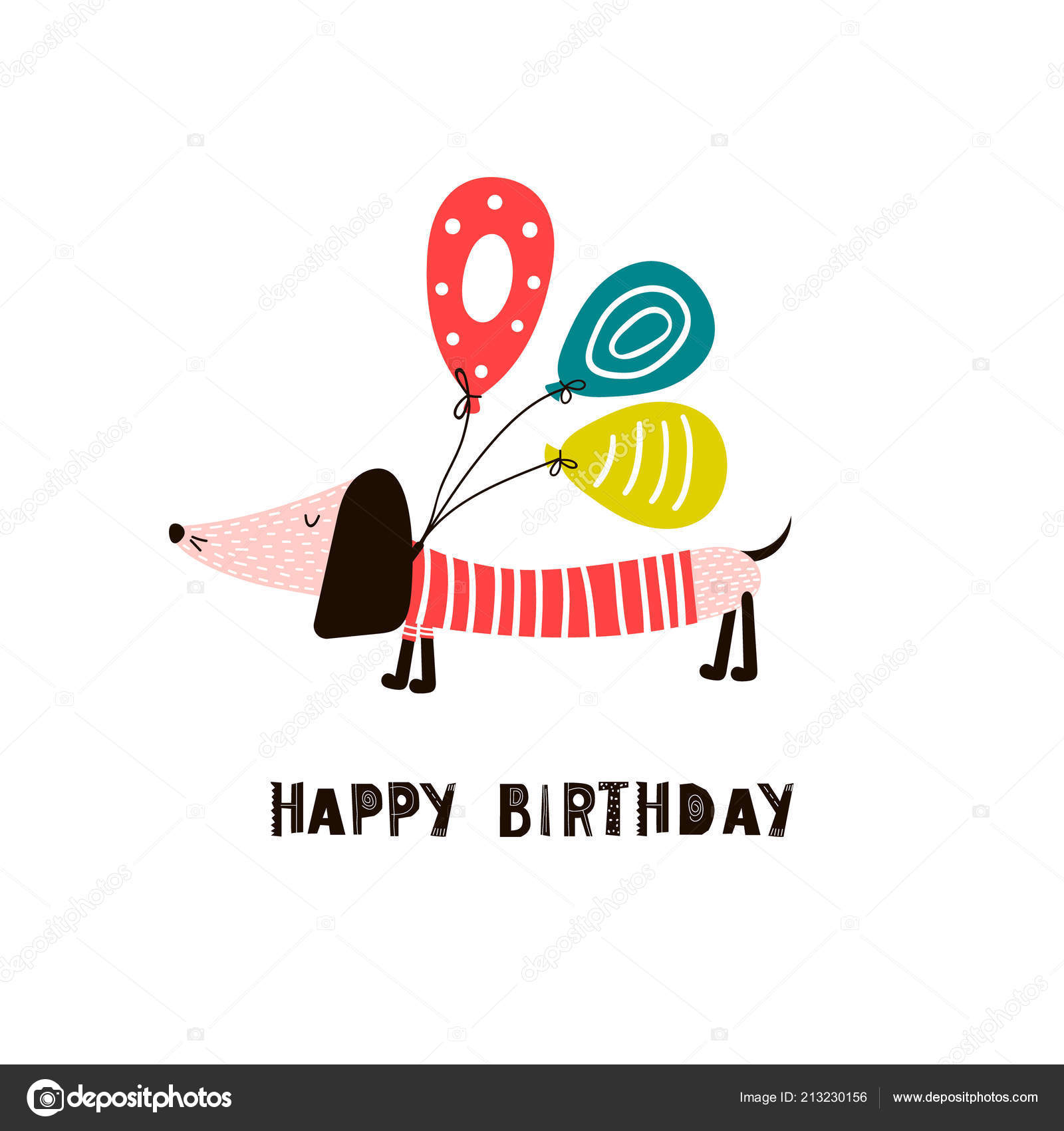 Greeting Card With Cute Dachshund Dog In A Striped Shirt Balloons And An Inscription