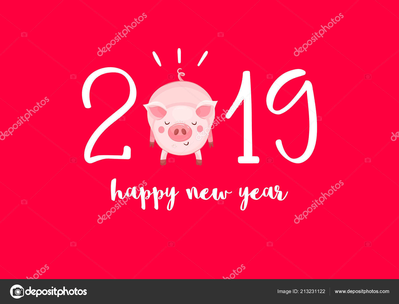 happy new year card cartoon little pig red background chinese stock vector