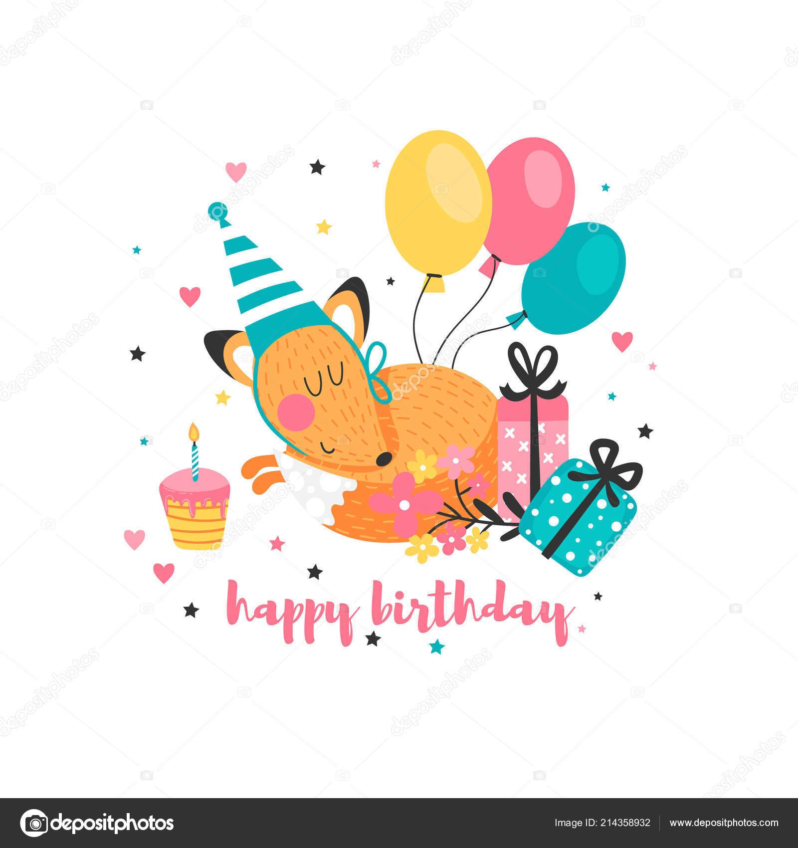 Chwalebne Kartka Urodzinowa Dla Dzieci Śmieszne Fox Balony Kwiaty Białym Tle BW78