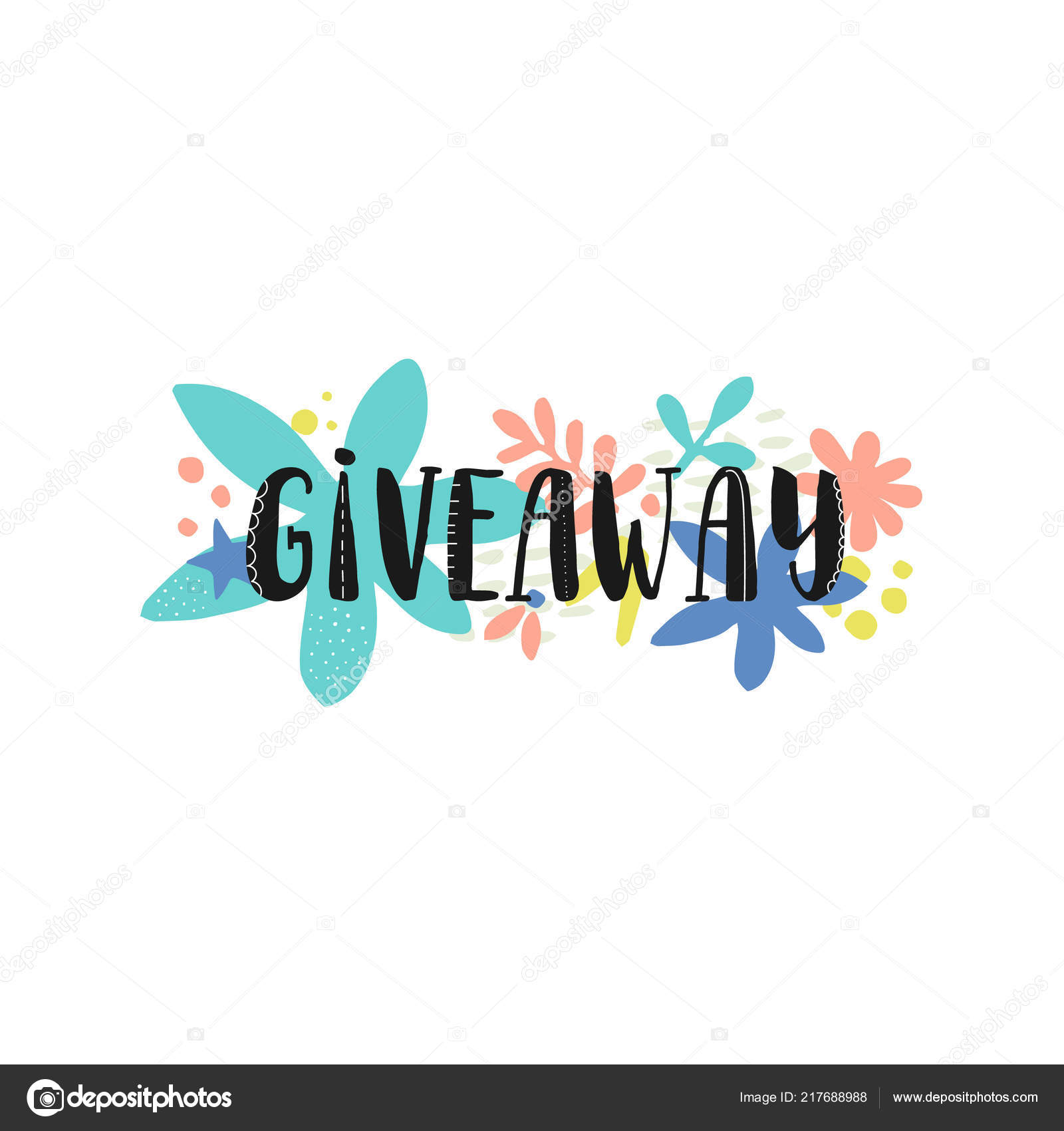Giveaway Banner Social Media Contests Special Offer Vector Black Ink