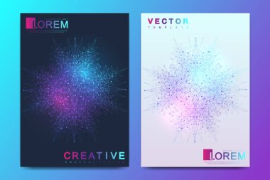 Modern vector template for brochure, leaflet, flyer, cover, banner, catalog, magazine, or annual report in A4 size. Futuristic science and technology design. Presentation with mandala. Lines plexus