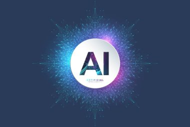 Artificial Intelligence Logo. Artificial Intelligence and Machine Learning Concept. Vector symbol AI. Neural networks and another modern technologies concepts. Technology sci-fi concept, hi tech