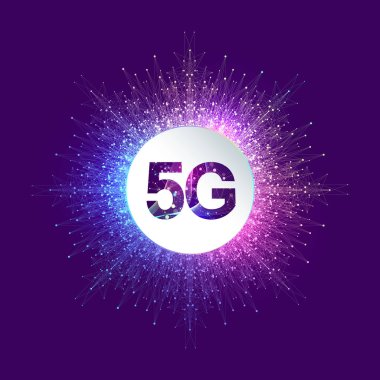 5G network wireless systems and internet vector illustration. Communication network. Business concept banner. Artificial Intelligence and Machine Learning Concept Banner