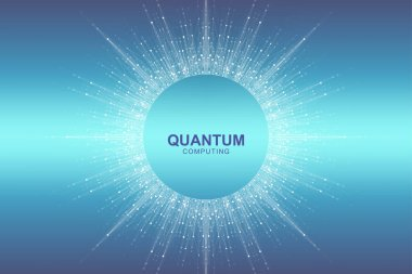 Circular quantum computer technology concept. Sphere explosion background. Deep learning artificial intelligence. Big data algorithms visualization. Waves flow. Quantum explosion, vector illustration