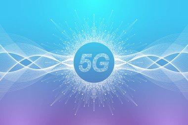 5G network wireless systems and internet vector illustration. Communication network. Business concept banner. Artificial Intelligence and Machine Learning Concept Banner icon