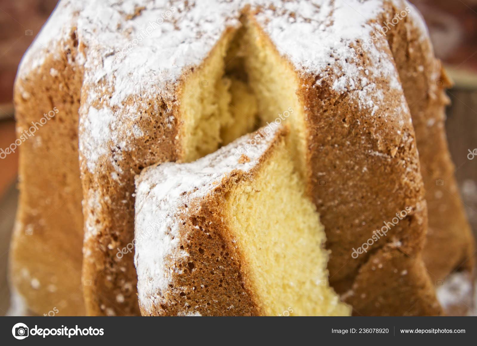 Italian Christmas Cake.Pandoro Traditional Italian Christmas Cake Copy Space
