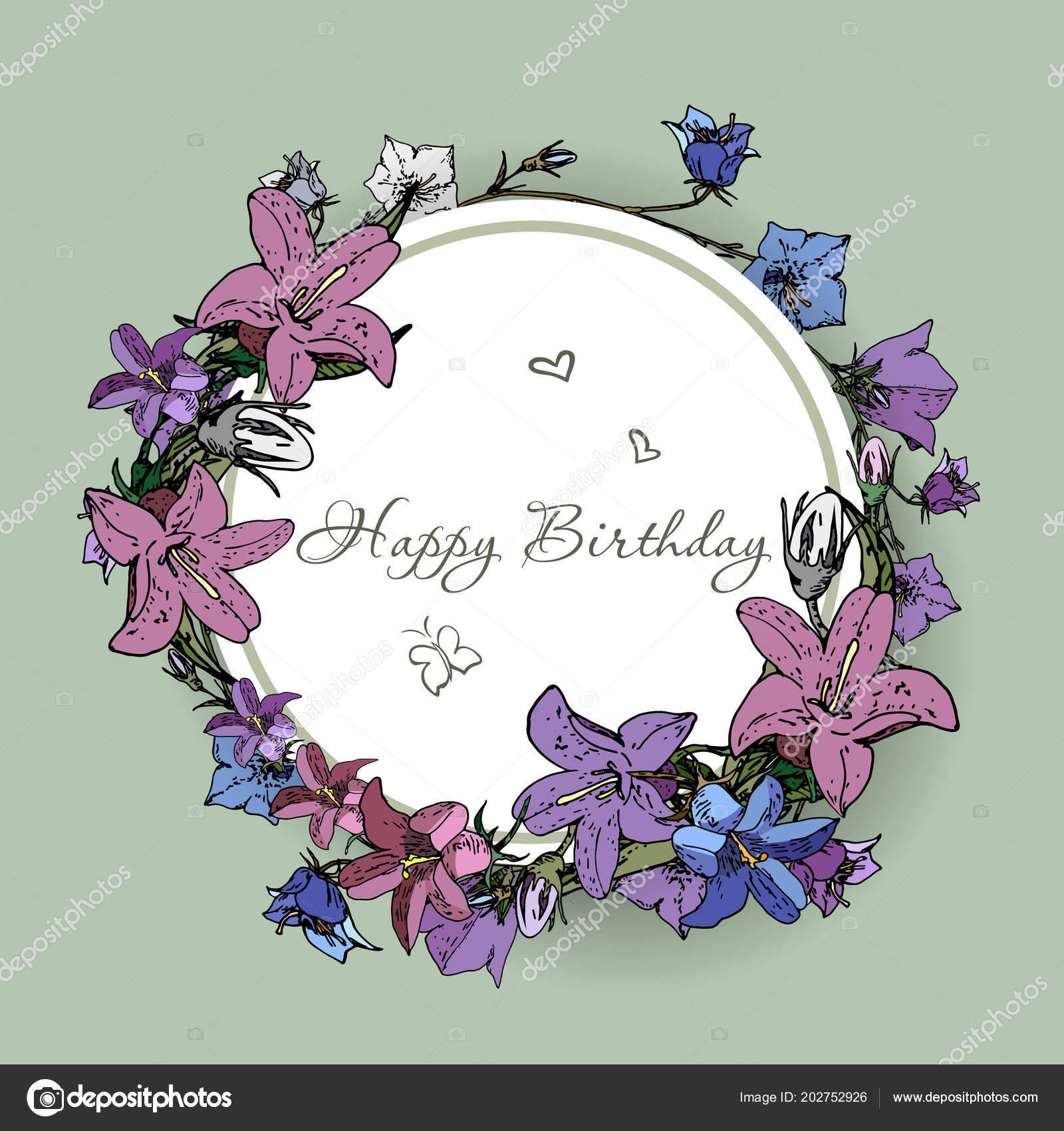 Vector happy birthday card with flowers stock vector familyf vector happy birthday card with flowers stock vector izmirmasajfo