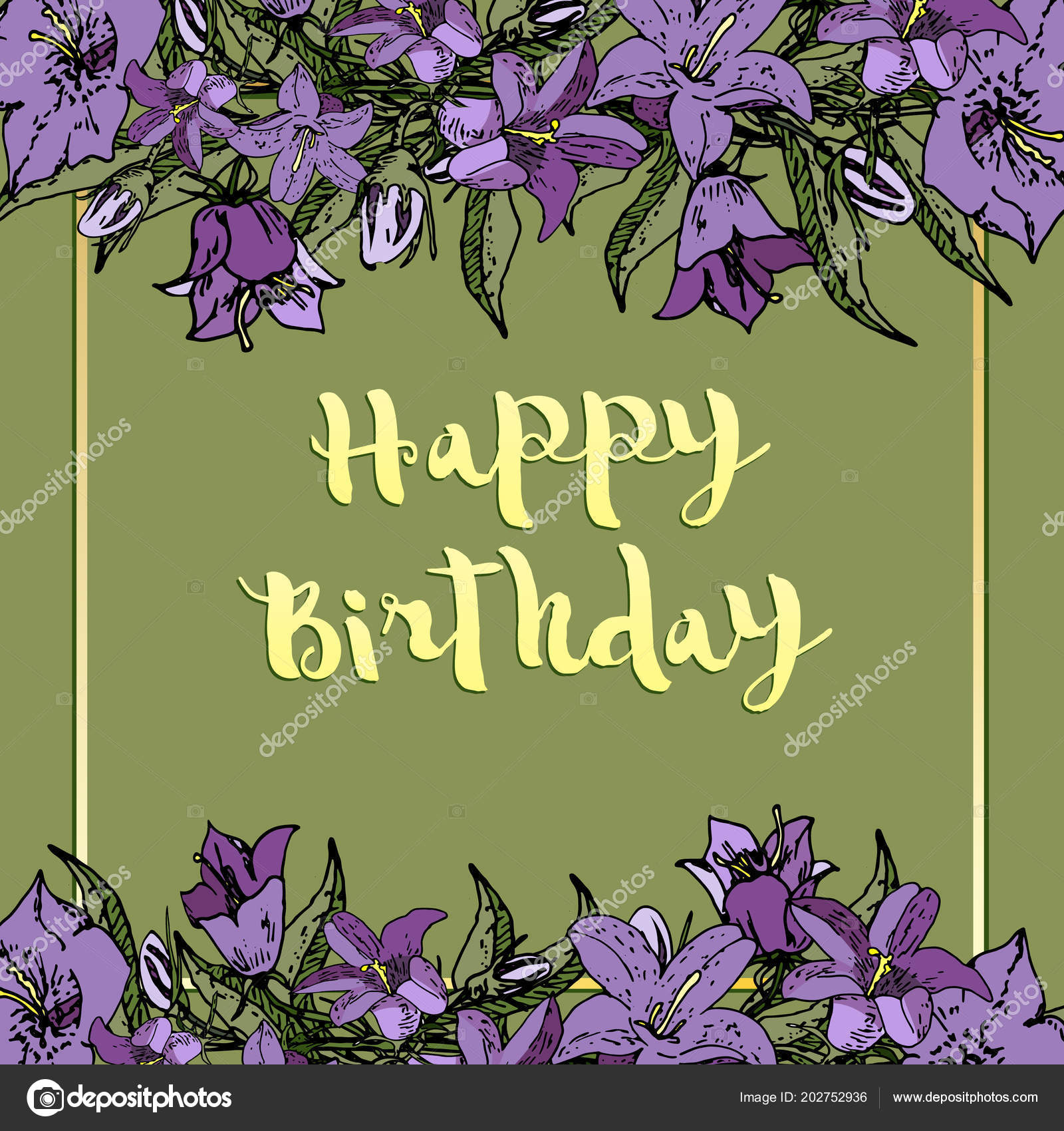 Vector Square Card With Flowers Happy Birthday Stock Vector
