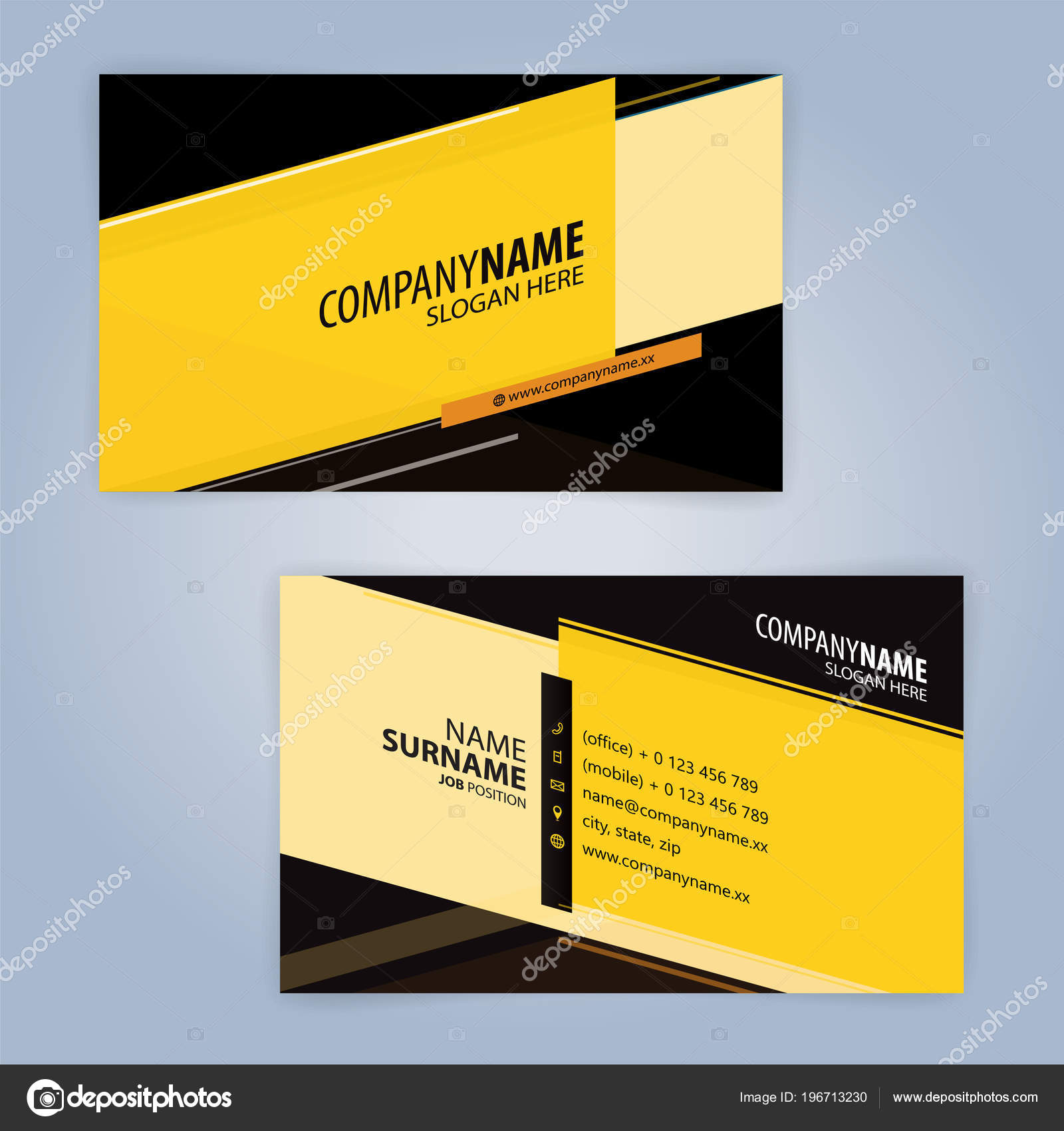 Black and Yellow modern business card template, Illustration Vector 30  30