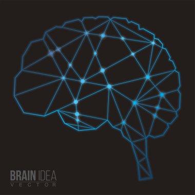 Brain polygon, Vector illustration. Abstract polygonal shape