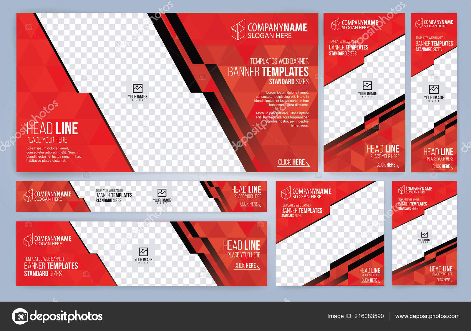 Red Black Web Banners Templates Standard Sizes Space Photo