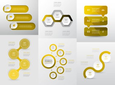 Set of modern infographic vector elements with 3, 4, 5 options for web, print, magazine, flyer, brochure, media, marketing and advertising concepts.