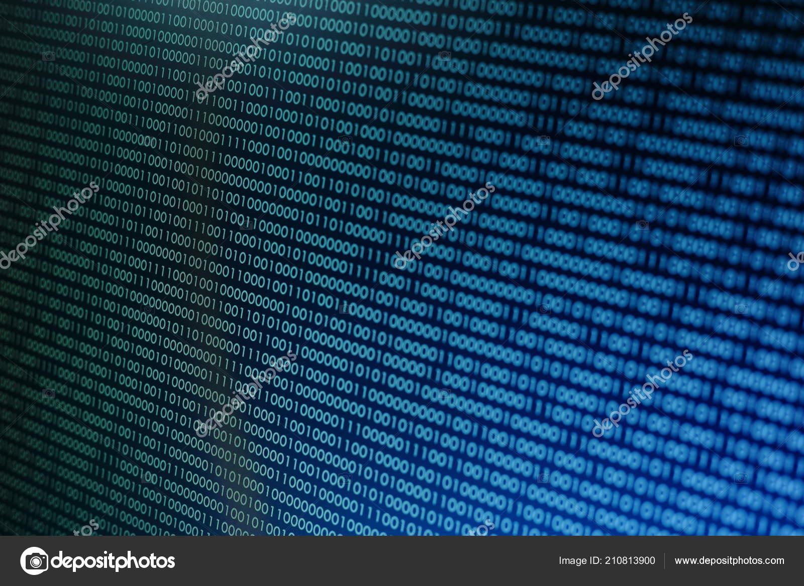 Computer Data Matrix Vertical Digital Binary Code Moving