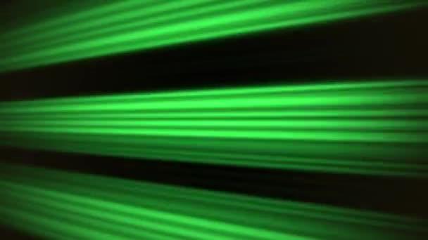 Zářivě zelené pohybu linie na černém pozadí, abstraktní, opakování animace