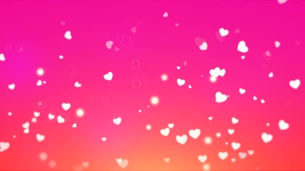 Valentin-nap fényes háttér, az animáció, a romantikus kis fehér szívek, repül felfelé rózsaszín és narancssárga háttér