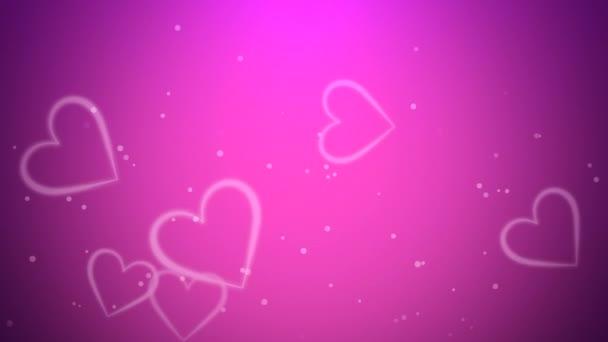 Valentinky den lesklé pozadí s animací romantické malé bílé srdce letí nahoru na tmavě růžové pozadí