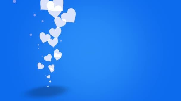 Valentinky den lesklé pozadí s animací romantické malé bílé srdce na modrém pozadí