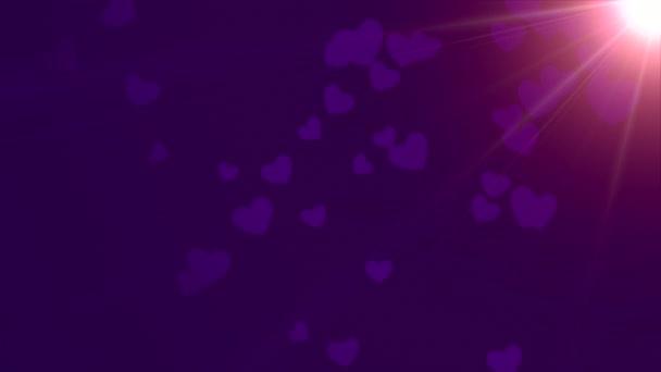 Valentin-nap fényes háttér, az animáció, a romantikus kis lila szívek, sötét lila háttér