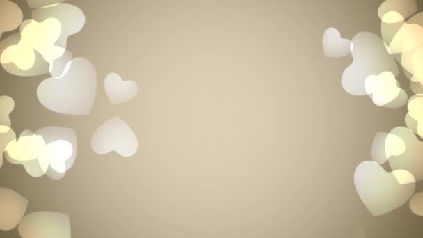 Valentinky den lesklé pozadí s animací romantické malé zlaté srdce na béžové pozadí