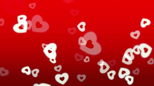 Valentinky den lesklé pozadí s animací romantické malé bílé srdce na červeném pozadí