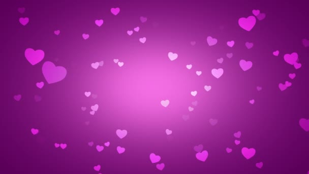 animation of romantic small pink hearts on purple background, elegant dynamic style template for Valentines day