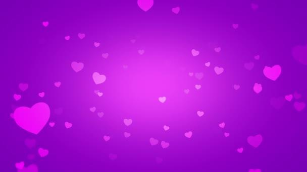 animáció, a romantikus kis rózsaszín szív, lila háttér, elegáns dinamikus Stílussablon Valentin-nap