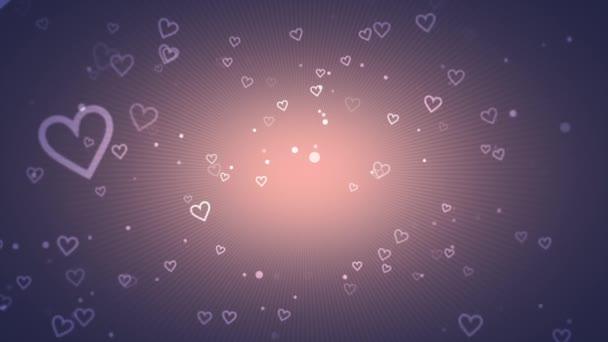 animace z romantické malé bílé srdce na růže zlaté pozadí, elegantní dynamický styl šablony pro valentinky den