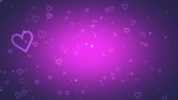 animace z romantické malé bílé srdce na tmavě fialovém pozadí, elegantní dynamický styl šablony pro valentinky den