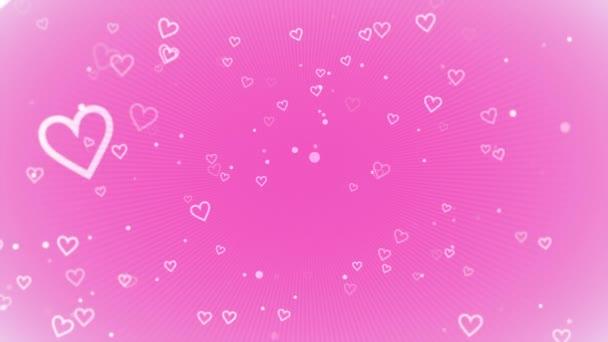 Animation romantischer kleiner weißer Herzen auf rosa Hintergrund, elegante dynamische Stilvorlage für den Valentinstag